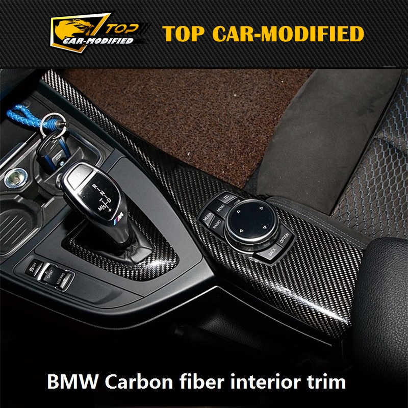 Free shipping  Carbon Fiber Interior Dashboard Trims for BMW 2 series F22 F23 220 228 M235  Two door style 7pcs/set