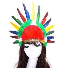 5pcs Chief Indian Feather Headdress Headband Samba Carnival Costume Costumes War Bonnet Hat