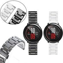 22mm Luxury Ceramic Watch Strap for Huami Amazfit Strato Sports Watch 2 Smart Watch 3 Link Butterfly Glossy Bracelet Wristbands