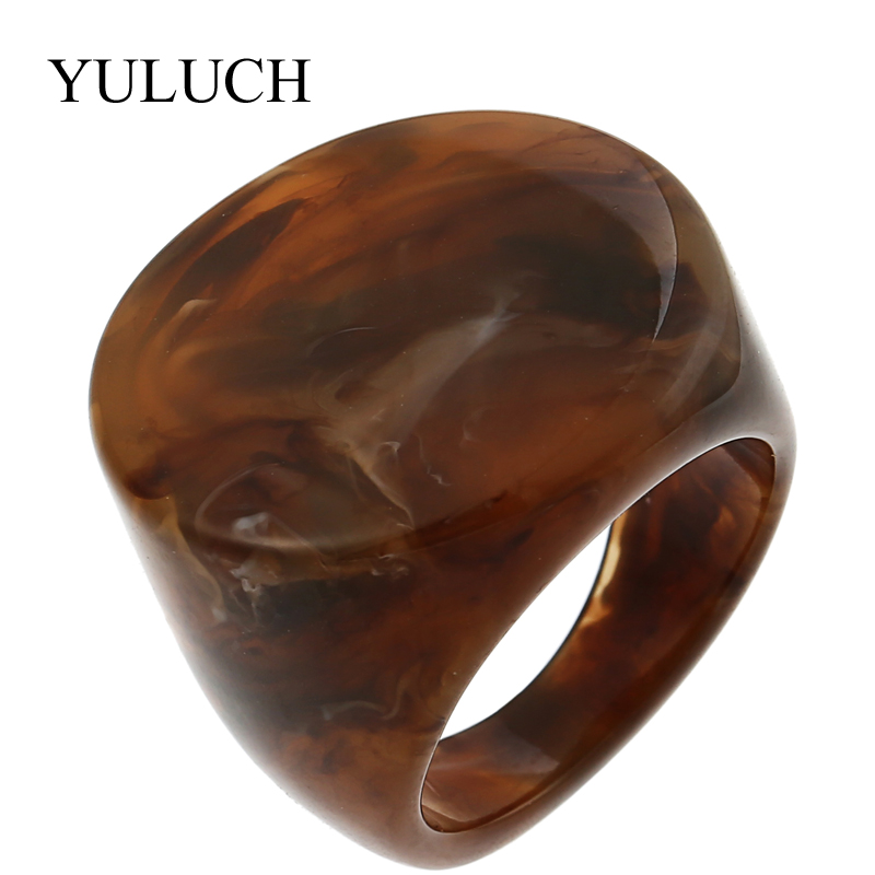 YULUCH NEW Natural Stone Rings Beautiful Grain Women Men Rings Semi precious Stone Ring Jewelry For Party Wedding Unique Design in Rings from Jewelry Accessories