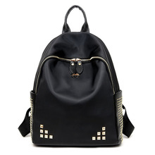 Preppy Style Backpacks For College Students Fresh Soft Handle Black Cool Trip Zipper Bags For Women Solid Big Capacity Backpack