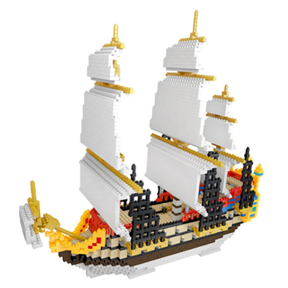 YZ  Building Blocks Model Sailing Pirate Ship Boat Model Building Blocks school educational supplies Toys for Children Christmas lepin 22001 pirate ship imperial warships model building block briks toys gift 1717pcs compatible legoed 10210