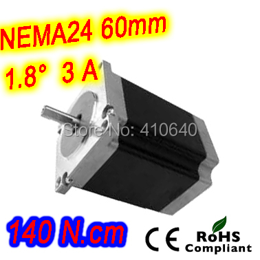 High torque step motor 24HS22-3004S L 57 mm Nema 24 with 1.8 deg  3 A  140 N.cm and  bipolar 4 lead wires