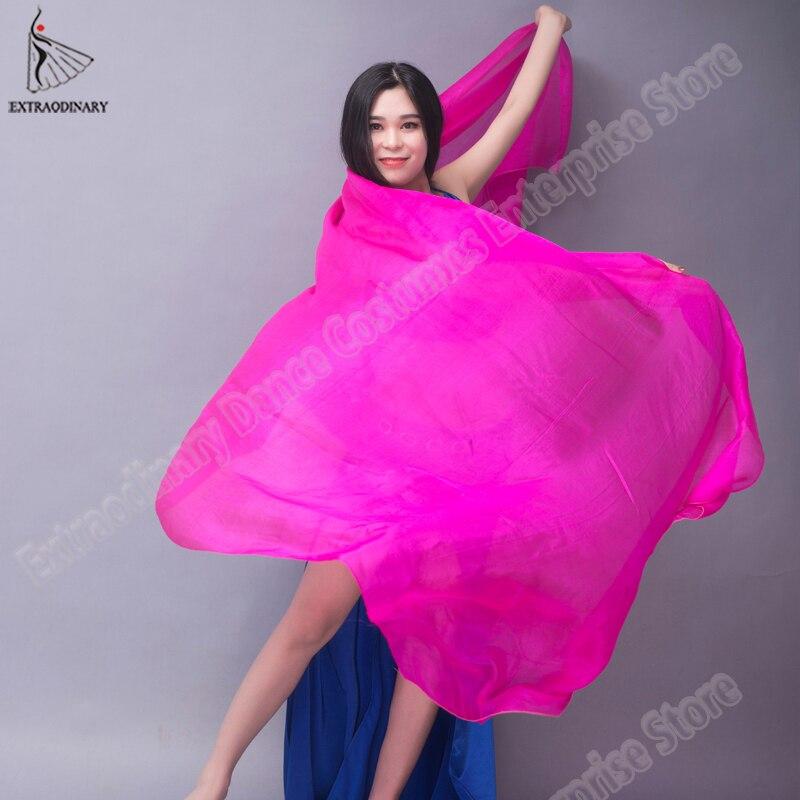 Image 2 - Velo chales para mujer danza del vientre velo de seda textura ligera puesta en escena bufanda de mano accesorios de disfraces 250cm 270cmDanza del vientre   -