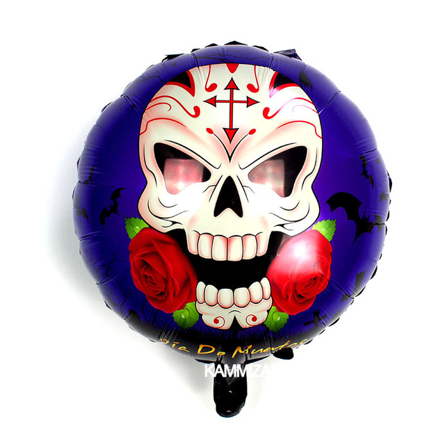 20pcs 18inch halloween skull rose foil balloons Skeleton globos ...