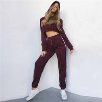 Limited Polyester Cotton Free Shipping 2019 European And American Style Autumn Hooded Belly Shirt Pants Casual Suit Clothing