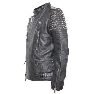 Image 5 - Мужская кожаная куртка с заклепками MAPLESTEED, черная Толстая байкерская куртка из воловьей кожи в стиле панк, мотоциклетная одежда для зимы, м139, 2019