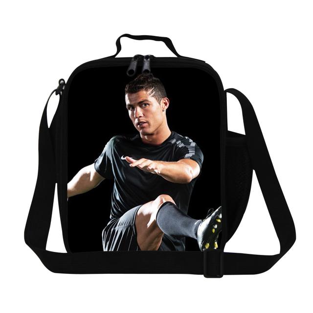 Hot personalizado C Ronaldo soccers sacos do almoço para adultos, meninos térmica sacos de farinha de saco de comida do almoço sacos térmicos dos homens para o trabalho escritório