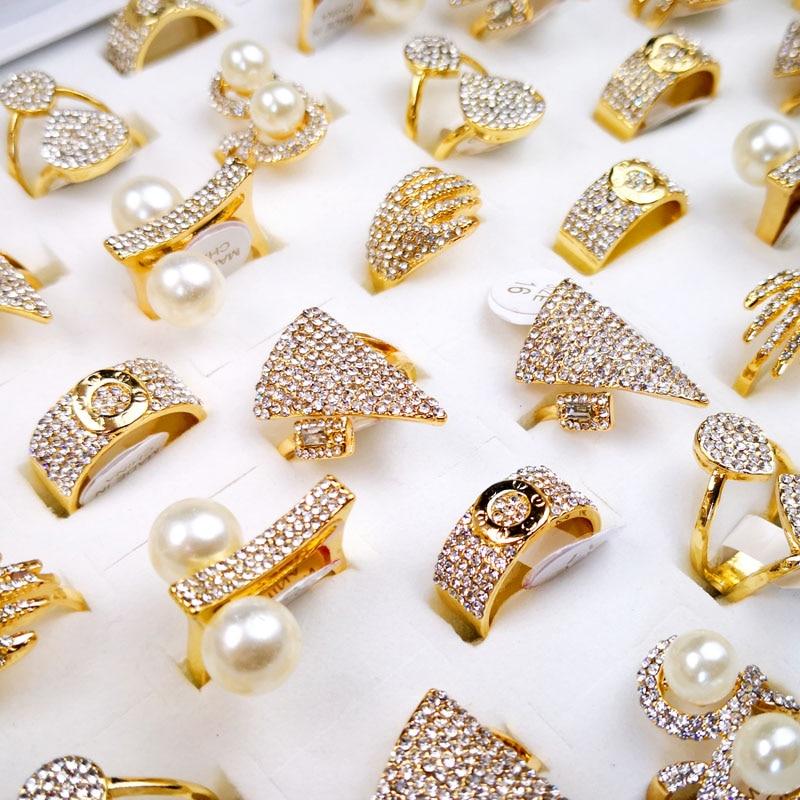 10Pcs Women's Rings Mixed Styles Pearl Gold Zircon Wholesale Rings Lots Female Jewelry Bulks Lot LR4166(China)