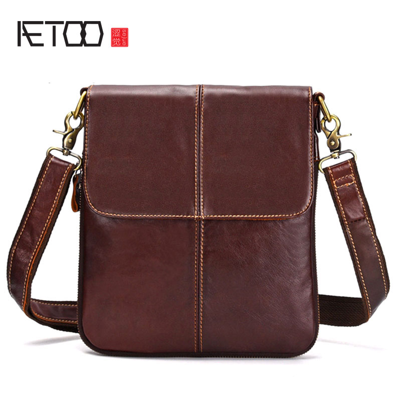 AETOO Leather cowhide wax leather business shoulder bag head layer leather men's leather bag Messenger bag men aetoo new real leather men bag oil wax cowhide retro men shoulder messenger bag head layer leather casual shoulder bag