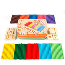 127Pcs Children Wooden Mathematics Number Sticks Montessori Early Education Math Toys For Baby Kids With Metal