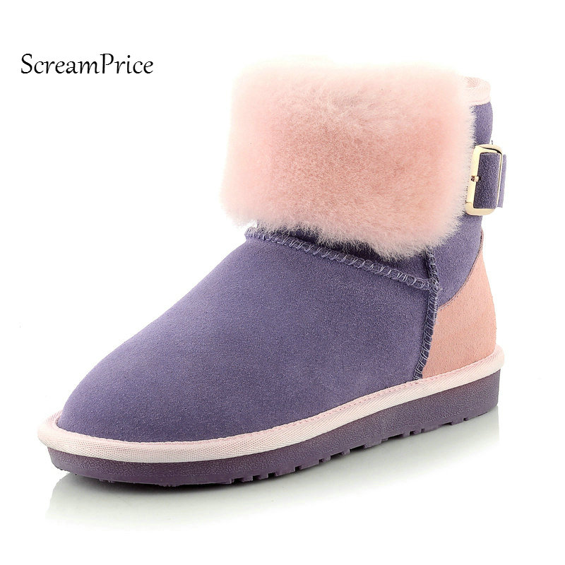 Woman Suede Winter Warm Slip On Snow Boots Fashion Buckle Flat With Platform Dress Ankle Boots Round Toe Shoes Black farvarwo formal retro buckle chelsea boots mens genuine leather flat round toe ankle slip on boot black kanye west winter shoes