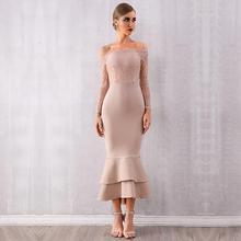 Najnowsza suknia bandażowa na eleganckie przyjęcia kobiety Off The Shoulder koronkowa z długim rękawem elegancka seksowna wieczorowa sukienka damska syrenka Vestidos