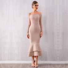 Newest Celebrity Party Bandage Dress Women Off The Shoulder Lace Long Sleeve Elegant Sexy Night Out Dress Women Mermaid Vestidos