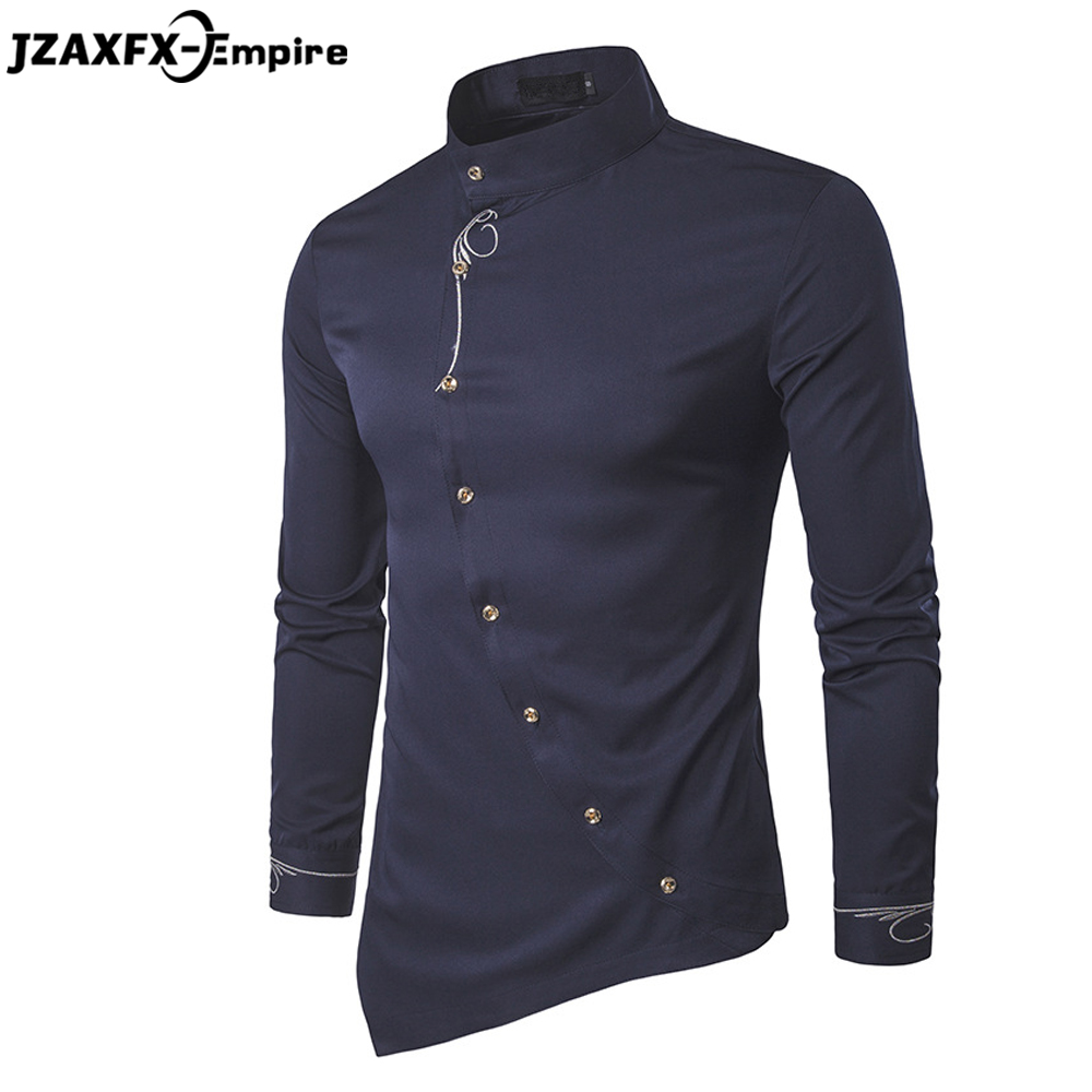 2017 Brand New Men Design Shirt Long SLeeve Mens Casual Shirt camisa masculina High Quality 6 Colors Oblique button Shirt men