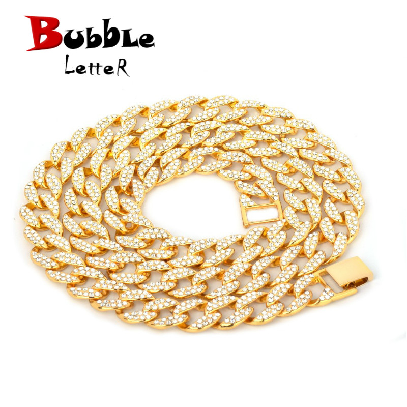15mm Miami Cuban Necklace Choker Gold Color Full Rhinestone Crystal Bling Bling Hip Hop Chain Fashion Punk Jewelry gift