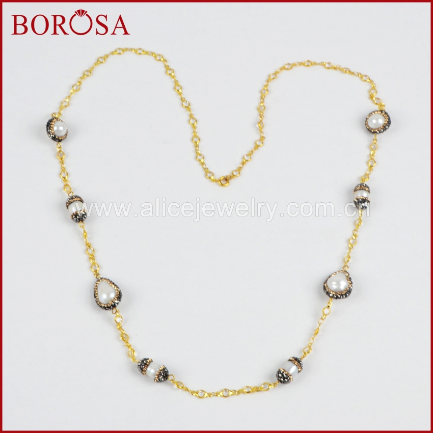 BOROSA Natural Pearl Crystal Rhinestone Pave Gold Chain Necklace ...