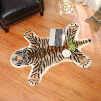 Коврик С Рисунком Тигра, коровы, леопарда, тигра, из воловьей кожи, искусственная кожа, нескользящий коврик, 94x100 см, ковер с животным принтом