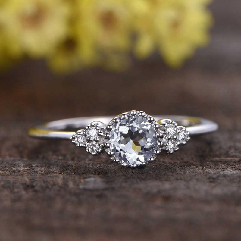 Oro di Rosa squisito di Colore Anello di Fidanzamento Ovale Cz di Zircon di Cristallo di Cerimonia Nuziale Fascia Art Deco Delle Donne Da Sposa Promessa Squilla I Monili