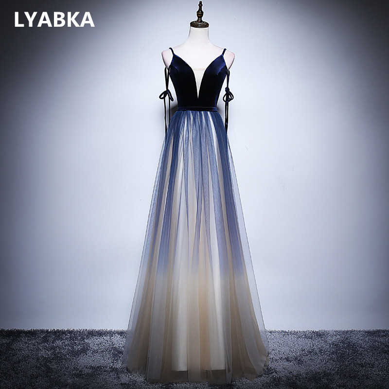A line Evening Dress Gown Elegant Robe De Soiree Blue Velour With Tulle V neck Evening