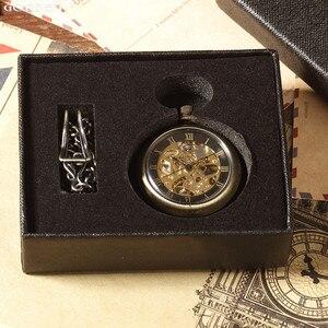 Image 5 - 새로운 뜨거운 판매 복고풍 청동 로마 숫자 기계식 주머니 시계 fob 체인 해골 손으로 감는 주머니 시계와 남성 여성을위한