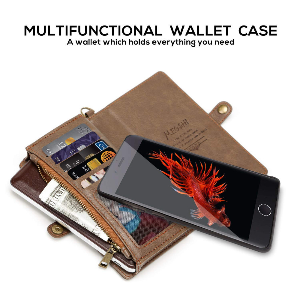 Multifunctional Wallet Zipper Wallet Case Detachable Magnetic Back Cover Leather Case For iPhone Xsmax X XS XR 7 8 plus 6 plus