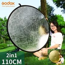 Godox refletor de fotografia redondo, luz portátil dobrável 110cm 2 em 1 para estúdio multi foto