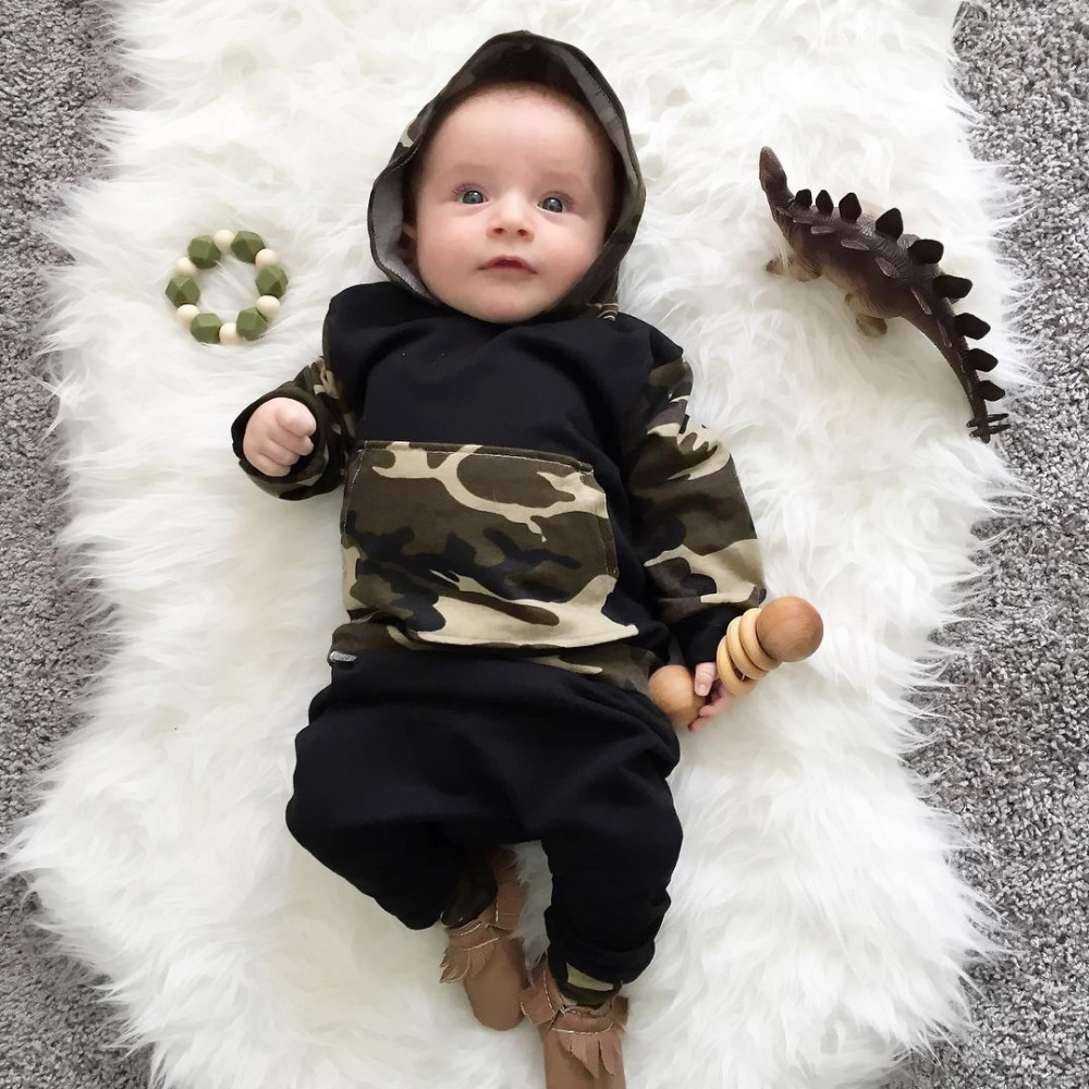 2017 New fashion baby boy girl clothes long pants camouflage camo hoodie Tops+pants newborn 2pcs outfit infant clothing set