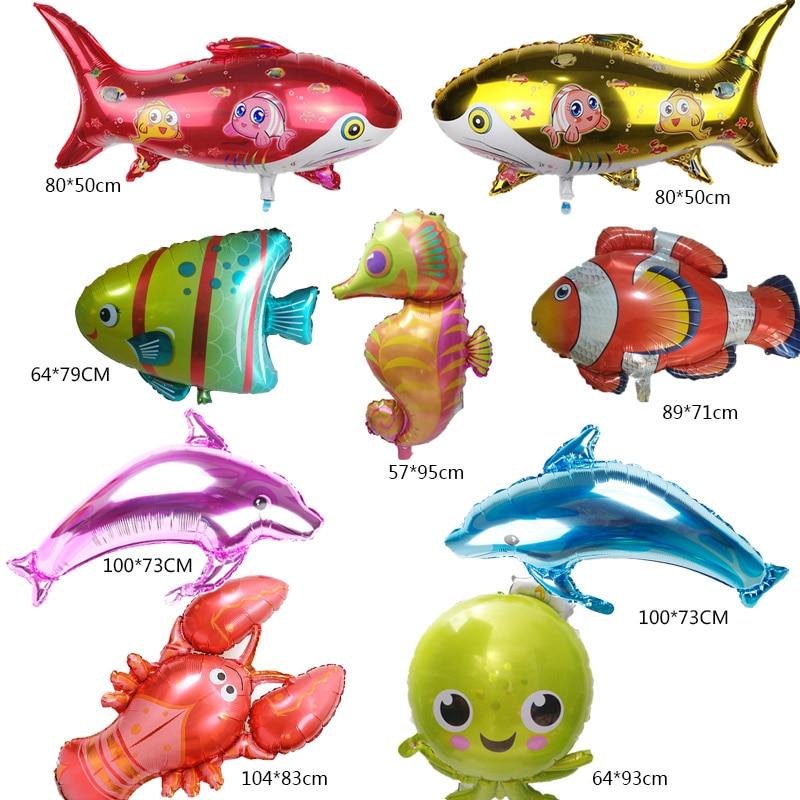 1pc Large sea animals Foil Balloons shark fish Helium Globos Baby Shower  Birthday Party Wedding Decorations Ocean Theme Ballons пляж на самуи