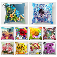 Fuwatacchi Flower Print Cushion Cover Sunflower Rose Dandelion Home Decor Accessories Pillows Cover Sofa Car Bedroom Pillowcase dandelion print table cover