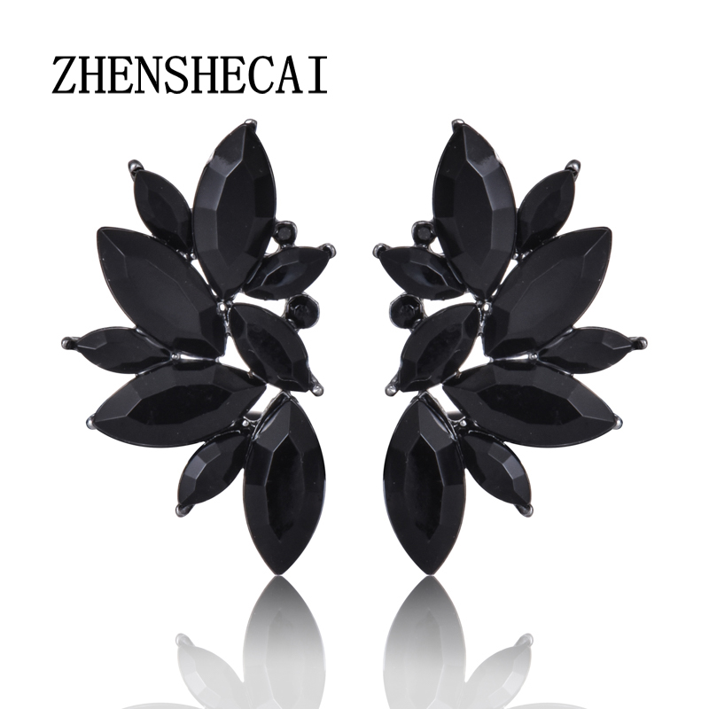 Classic Black Wings Shape Crystal Stud Earrings For Woman Party Earrings High Quality Hot Sale