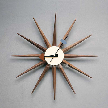 New Creative Home Decoration Clock Modern Nordic Minimalist Living Room Bedroom Silent Electronic Walnut Wall Clock (W48*H48cm)
