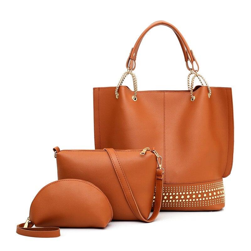 wholesale sales top quality most popular US $18.75 25% OFF 2019 new Women Leather Handbags simple fashion single  shoulder Bags hand bag rivet 3 pcs/set handbag and purses ladies  handbags-in ...