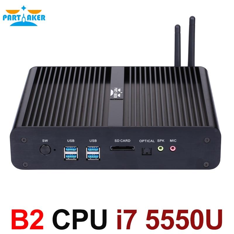Ventanas Mini pc i7 5550U Broadwell Intel Nuc Barebone HTPC Sin Ventilador Compu