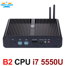 Окна Mini PC i7 5550U Barebone HTPC Платформа Intel NUC Безвентиляторный Компьютер бродуэлл Графика HD 6000 300 м Wi-Fi