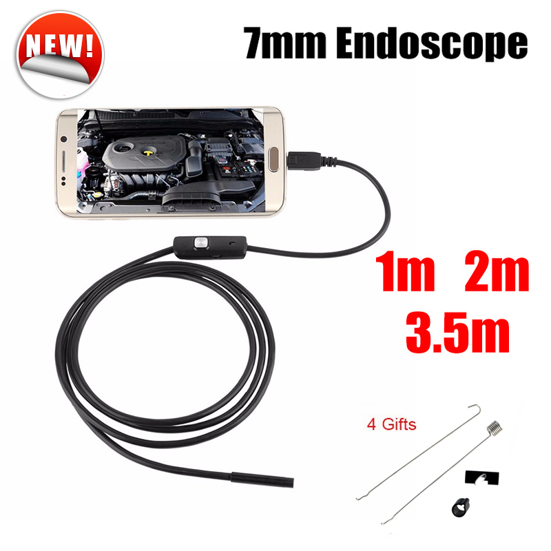 Wistino Endoscope 7mm Android USB Endoscope Camera 1M 2M Waterproof Inspection Tube Car Endoskop Camera Borescope Pipe Cam 7mm lens 2m 5m usb endoscope camera snake tube pipe waterproof usb endoskop car inspection borescope endoscope camera android