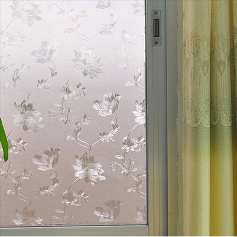 beibehang water Hibiscus static non abrasive frosted glass film pastoral bathroom window transparent opaque cellophane wallpaper-in Wallpapers from Home ...