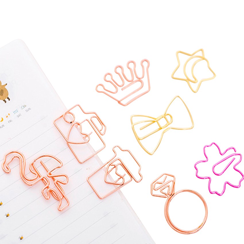 5pcs/lot Kawaii Rose Gold Paper Clips Bookmark Metal Binder Paper Clip Bookmark Office Statioinery School Office Supply
