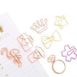 5 шт./лот Kawaii розовое золото закладка скрепки металлическое кольцо скрепки для бумаги закладки офисные Statioinery школы питания