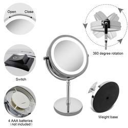 Вращающийся круглое зеркало Двусторонняя 10 раз увеличение зеркало для макияжа 7 дюймов светодио дный зеркало круглое макияж кадр