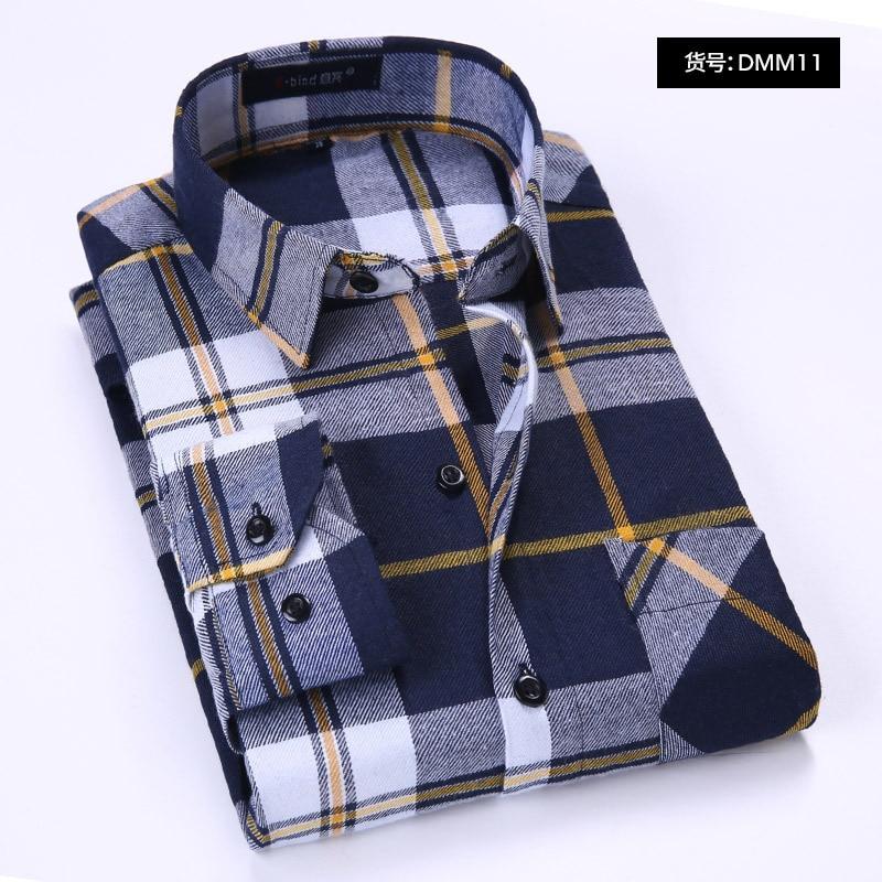 Quality Flannel Plaid Men Spring Autumn Casual Long Sleeve Dress Shirt Cotton 0505W