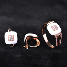 Dazz White Ceramics Jewelry Sets Earrings Ring Set AAA Zircon Rhinestone Stud Earrings Rose Gold Square