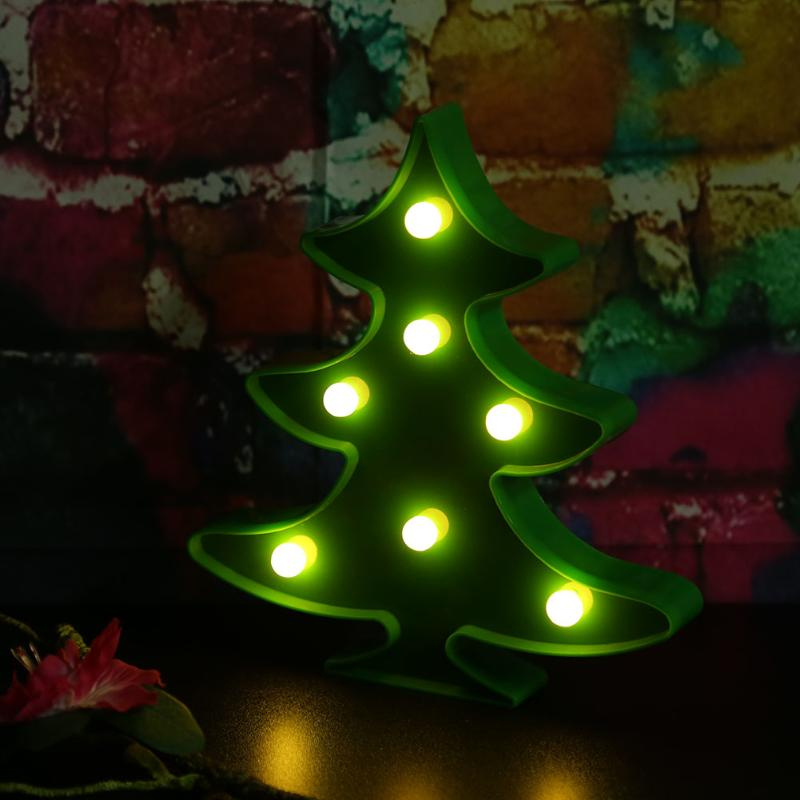 battery operated led wall decorative lights mini christmas tree shape luminous night lamps for xmas party wedding decoration in led night lights from lights