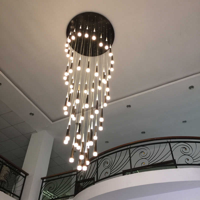Bắc Âu Hiện Đại Nhỏ Gọn Biệt Thự Song Công Tòa Nhà Sáng Tạo Cầu Thang Xoắn Ốc Đèn Chùm Long Đèn Cá Tính Châu Âu Đèn