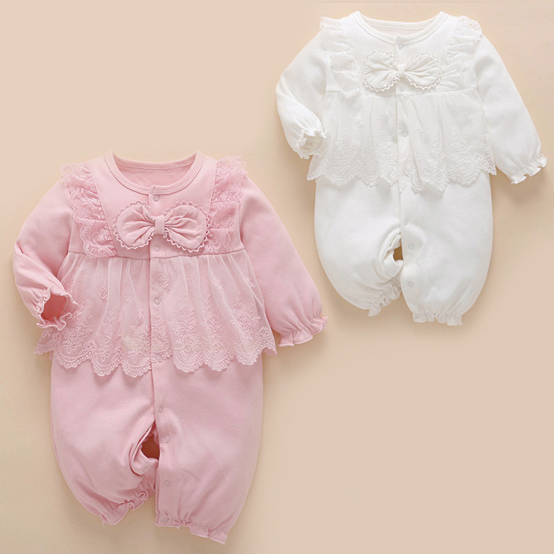 Спортивный костюм для новорожденных детская одежда зима весна бантом кружева детские трико для девочек комбинезон с длинным рукавом Одежд...