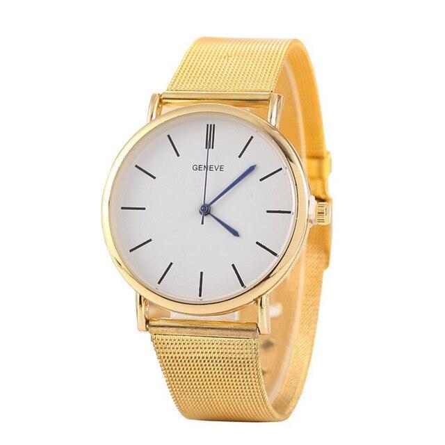 23ba50ac189 Vestido de Ouro De prata das Mulheres Geneve Relógios Homens Moda Banda de  Aço Inoxidável Relógio