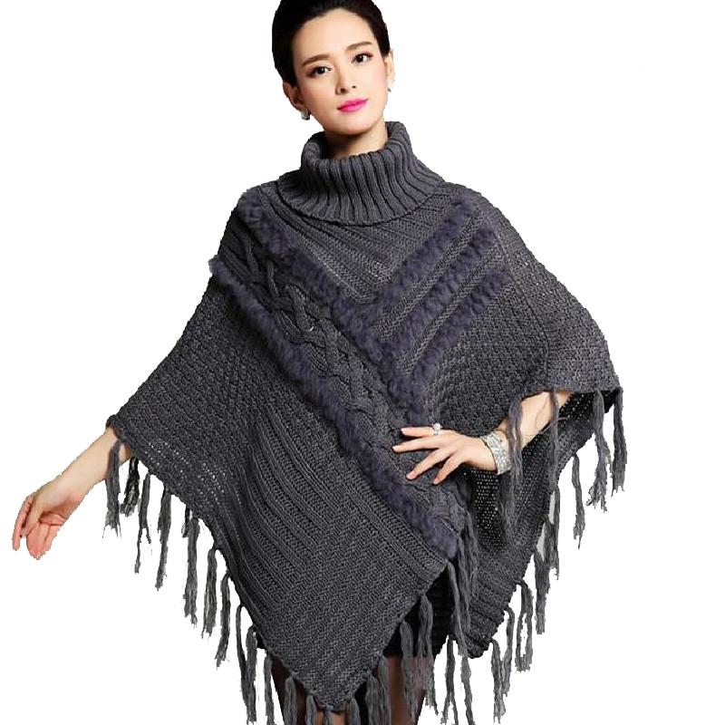 Women Fringed Pullovers Tassels Autumn Winter Knitted Rabbit Fur Poncho Feminino Turleneck Shawl Vintage Wool Coats