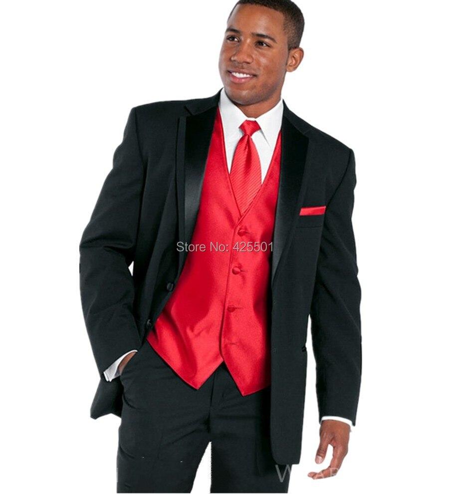 2016 Men Business Suits Men Wedding Suits Slim Fit Fashion Black Men Suits With Pants Men Groom Tuxedos Jacket+Pant+Vest+Tie