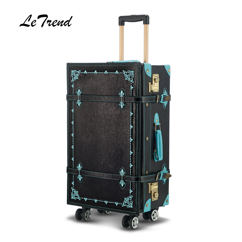 Letrend Hand Embroidery Luxury Spinner Retro Rolling Luggage Women Suitcase Wheels Carry On Trolley High-grade Travel Bag trolley travel bag hand luggage rolling duffle bags waterproof oxford suitcase wheels carry on luggage unisex small size