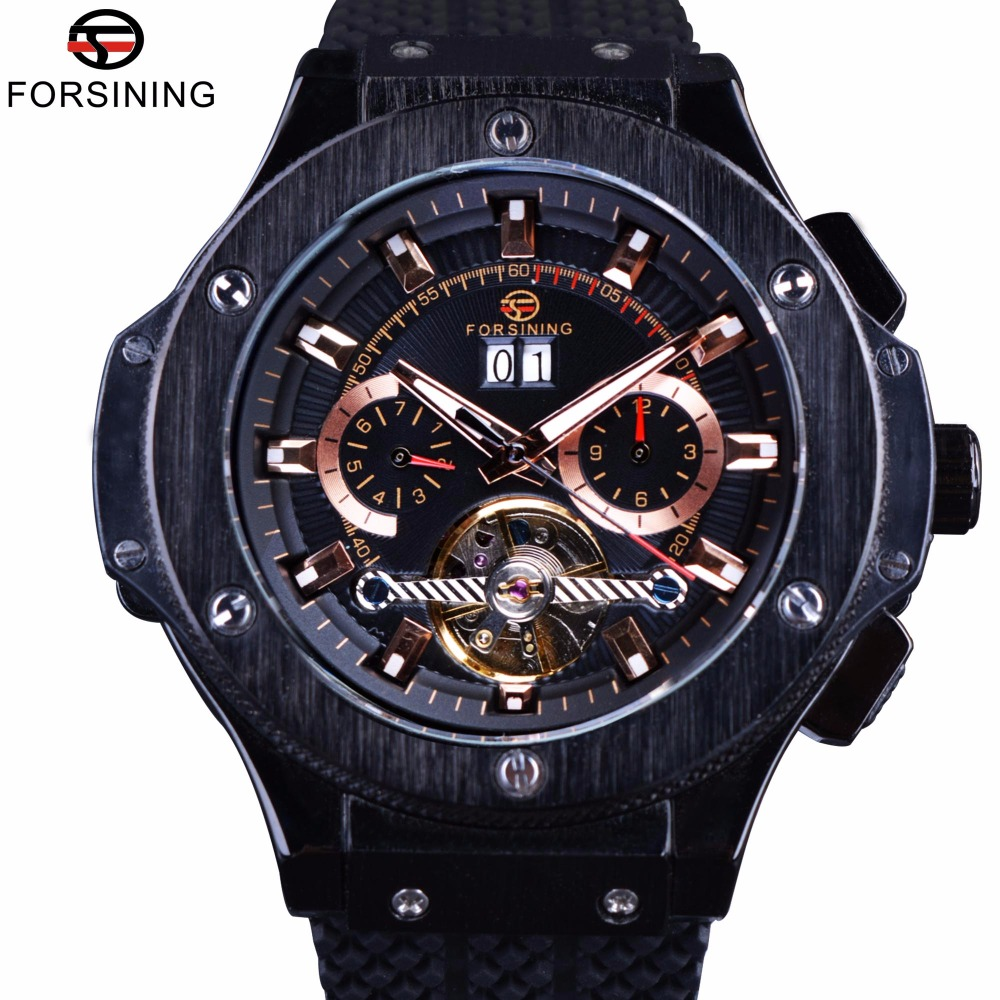 Forsining 2017 Military Series Male Sport Men Chronograph Silicone Band Black Men Wrist Watch Automatic Watches Top Brand Luxury forsining navigator series tourbillion date display black silver watch top brand luxury male automatic mechanica wrist watches
